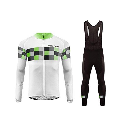 Uglyfrog Maillot de Ciclismo Ropa Ciclismo Conjunto para Hombre Culotte Manga Larga+Bib Pantalones Transpirable Cómodo Designs Grandes Regalos
