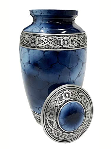 Cremation Urn for Ashes - Adult Funeral Urn Handcrafted - Affordable Urn for Ashes - Large Funeral Memorial with Elegant Finish for Cemetery Burial - Blue/Silver