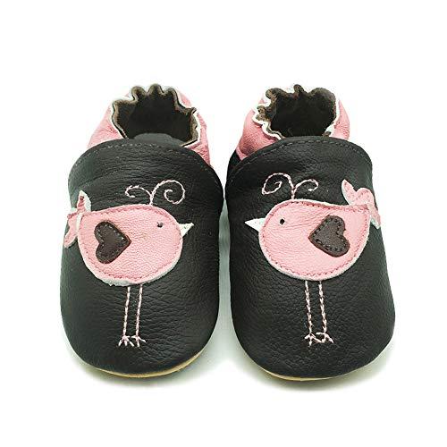 LPATTERN Unisex-Baby Neugeborene Jungen/Mädchen Weicher Leder Lauflernschuhe Krabbelschuhe Babyschuhe Hausschuhe, Rosa Vögel auf Schwarz, 6-12 Monate