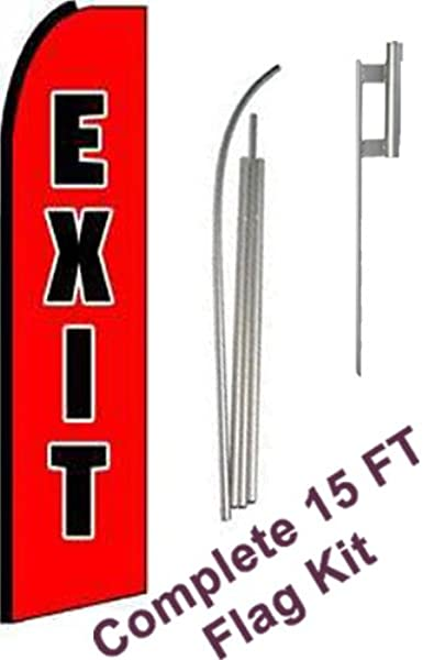 NEOPlex Exit Extra Wide Complete Flag Kit Includes 12 Swooper Feather Business Flag With 15 Foot Anodized Aluminum Flagpole AND Ground Spike