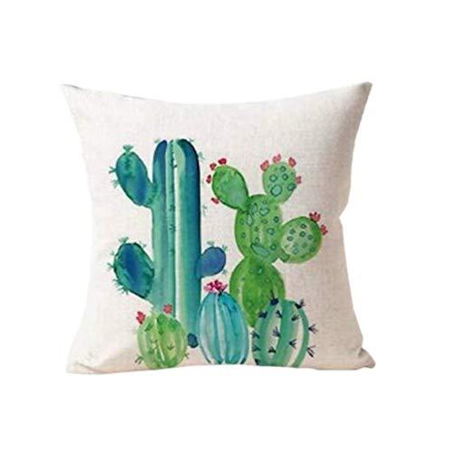 dragonaur Succulente Cactus en Pot en Lin Taie d'oreiller Home Decor Housse de Coussin, Lin, 2, Taille M