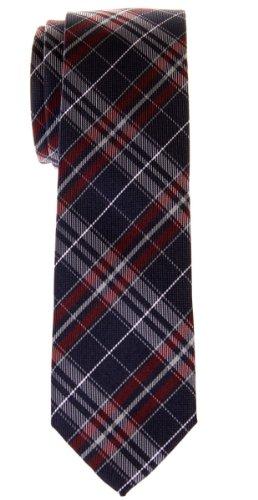 Retreez Cravate Fine Slim stylée microfibres tissée en tartan pour homme - Bleu marin et Rouge bordeaux