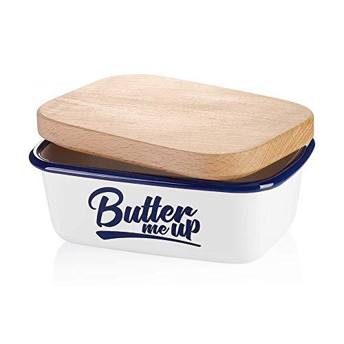SveBake Mantequillera – Mantequillera esmaltada con tapa blanca | Multifunción para 1 pieza de mantequilla, mantequilla, mantequilla me up