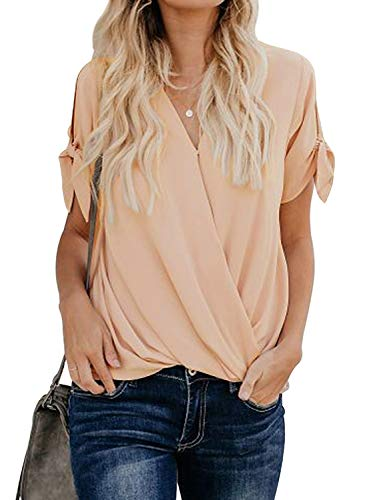 HOTAPEI Womens Tunic Blouses Casual Loose Summer Tie Short Sleeve Wrap V Neck Chiffon Work Blouses...