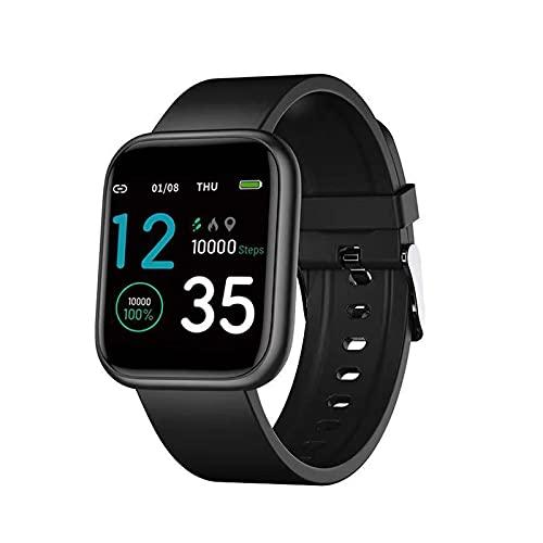 Reloj Inteligente, Rastreador De Fitness Rastreador De Actividad Monitor De Pulso Cardiaco Reloj Deportivo De Salud Asistente De Voz Batería por Más De 7 Días-Black