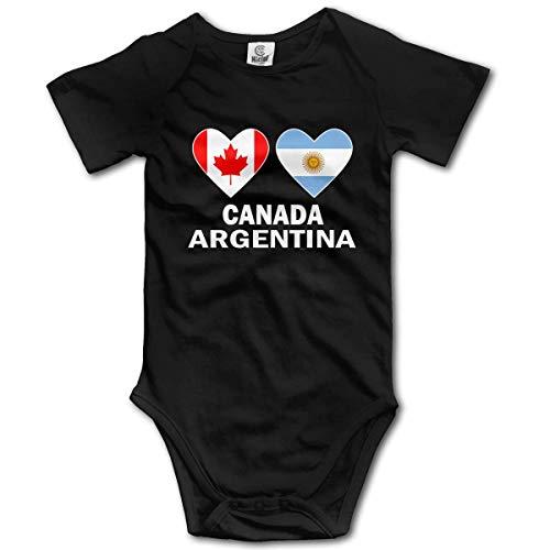 WlQshop Mono para Bebé,Mameluco Bebé Unisex Canada Argentina Hearts Newborn Baby Girl Clothes Short Sleeve Infant Bodies