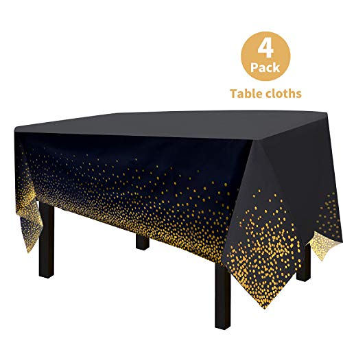 OUGOLD 4 Pack Premium Black Disposable Plastic Table Cover 54 x 108 Inch Waterproof Disposable Tablecloths for Rectangle Tables up to 8 ft in Length Indoor or Outdoor Use Party Table Cloths
