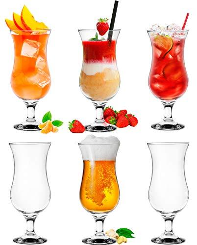 Platinux Cocktailgläser 400ml (max. 470ml) aus Glas Set (6-Teilig) Longdrinkgläser Partygläser Milkshake Glas Groß