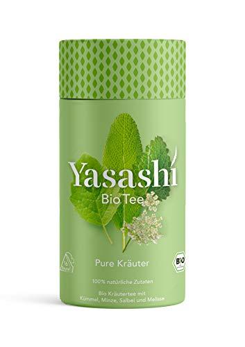 Yasashi Bio Tee | Bio Pure Kräuter Kümmel – Minze – Salbei | mild-kräuterig | 100% natürliche Zutaten | 100% Bio Qualität | 100% recyclefähige Verpackung | 16 Pyramidenbeutel x 2g
