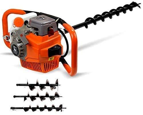 Benzin Erdbohrer Set YUNRUX 71cc Pfahlbohrer 2.4PS Erdbohrgerät Brunnenbohrer Eisbohrer inklusive 3 Bohrschnecken