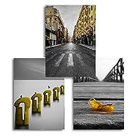 Muzimuzili 北欧の黄色の建築ブラックホワイトの橋のポスターとプリントキャンバスの絵画リビングルームの家の装飾のための壁の写真-40X60Cmx3Pcs非フレーム