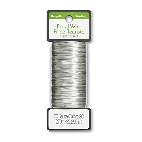 FloraCraft 26 Gauge Floral Wire 270 Feet Bright Silver