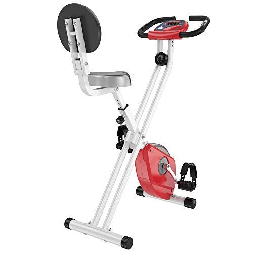 HOMCOM Bicicleta Estática para Ejercicios Profesional Bicicleta Vertical Plegable de Forma X con 8 Niveles Resistencia Magnética Asiento con Altura Ajustable Acero 43x97x109 cm Rojo