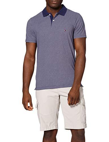 Tommy Hilfiger Herren Micro Print Slim Polo Polohemd, Yale Marineblau/Wüstenhimmel/Weiß, L