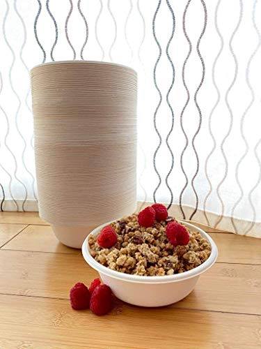 Ecodigester 100% Compostable 16 oz. Paper Bowls [100-Pack] Heavy-Duty Disposable Bowls Bulk Pack, Eco-Friendly Bagasse, Hot or Cold Use, Biodegradable Made of Sugar Cane Fibers