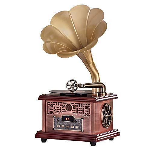 Best Bargain FMOGE Gramophone Bluetooth Speaker Metal Alloy Horn Decoration Built-in 2 High-Fidelity...