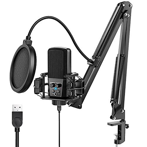 JEEMAK USB Mikrofon, 192KHZ/24Bit Mikrofon mit Nierencharakteristik, Mikrofon PC für Aufnahme Podcasting YouTube Gaming Streaming