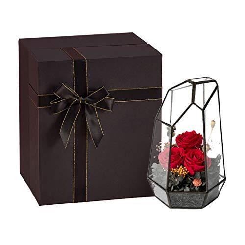 NYKK Künstliche Blume Konservierte Blume Rose for Immer mit Geometric Cut Glas mit schwarzem Gift Box Valentinstag-Party-Geschenke Hochzeit Geschenke for sie Ewige Blume (Color : Red)