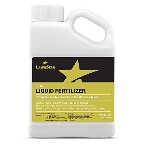 Complete Starter 8-16-8 Liquid Fertilizer (1 Gallon) with Sulfur - Ideal Nutrient Lawn Food for New Seed, Sod, Plugs - Prevents Wilting & Transplant Shock Losses, Safe for All Grass Types