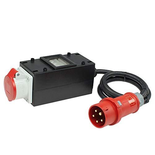 as - Schwabe MIXO Stromverteiler Spree 400 V /32 A / 5-polig – CEE-Stecker auf CEE-Steckdose mit 1,5 m schwere Gummischlauchleitung – Baustellen-Starkstrom-Verteiler – IP44 – Made in Germany I 60704