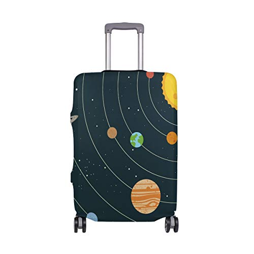 Orediy Elastic Travel Luggage Cover Planets and Sun Print Trolley Case Suitcase Protector(Without Suitcase) S M L XL Size
