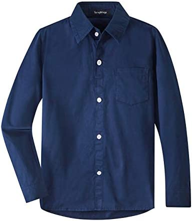 Spring Gege Boys Long Sleeve Dress Shirts Formal Uniform Cotton Solid Navy Blue 7 8 Years product image