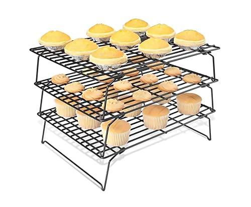 Acobonline Rejilla para Enfriar repostería, 3 Niveles, Aluminio, Negro, Centimeters Anti-adherente – Uso Individual o apilable para Ahorrar Espacio en la Cocina (Negro)