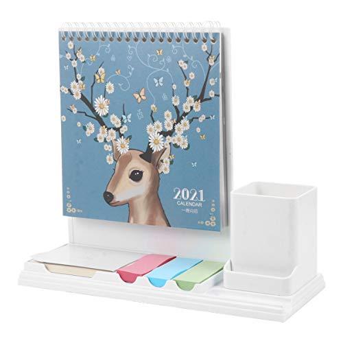 NUOBESTY 2021 Calendario de Escritorio Bloc de Notas Multifuncional Decorativo Etiqueta de Papel 365 Planificador de Horarios Soporte de Lápiz para Oficina Escuela en Casa