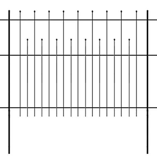 Festnight Deko-Gartenzaun 600 x 150 cm | Metallzaun Palisadenzaun Rankzaun Metall-Rankgitter Rankhilfe für Kletterpflanzen Stahl Schwarz