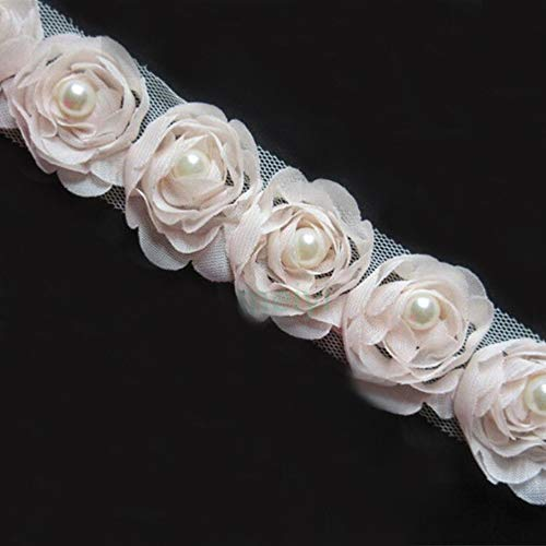 2 Meters 3D Chiffon Rose Flower Pearl Beaded Floral Lace Edge Trim Ribbon 5 cm Width Vintage Style Edging Trimmings Fabric Embroidered Applique Sewing Craft Wedding Bridal Dress DIY (Pink Champagne)