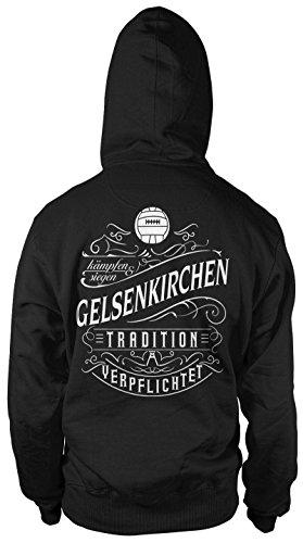 Mein Leben Gelsenkirchen Männer und Herren Kapuzenpullover   Fussball Ultras Geschenk   M1 FB (L, Schwarz)