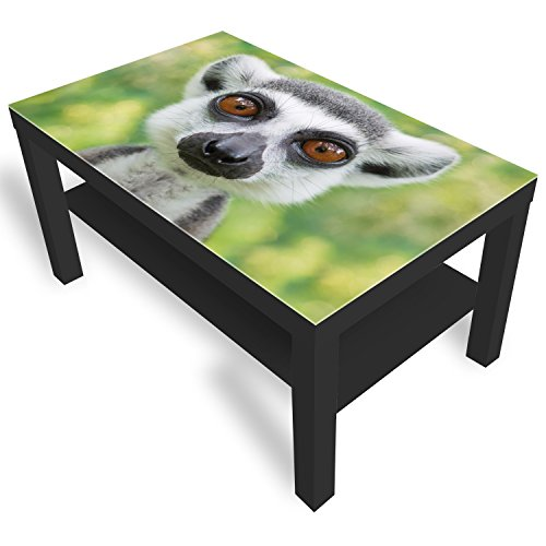 DekoGlas IKEA Lack Beistelltisch Couchtisch 'Lemur Gesicht' Sofatisch mit Motiv Glasplatte Kaffee-Tisch, 90x55x45 cm Schwarz