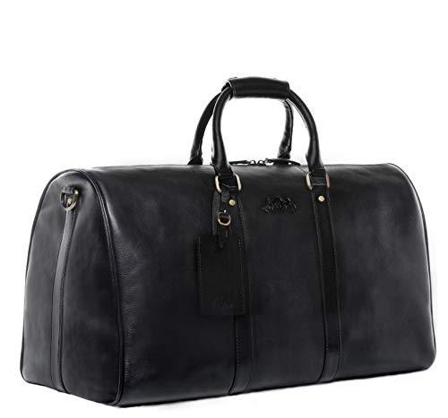 SID & VAIN Reisetasche echt Leder Franklin groß Sporttasche Weekender Ledertasche 50 cm schwarz