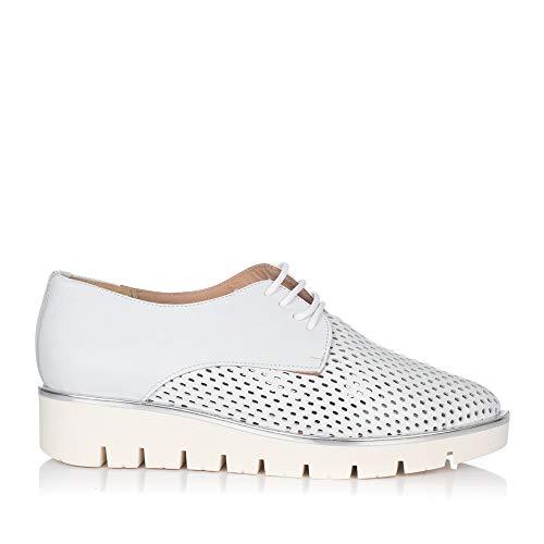 MARIA JAEN 8021 Zapato Cordones Piel Mujer Blanco