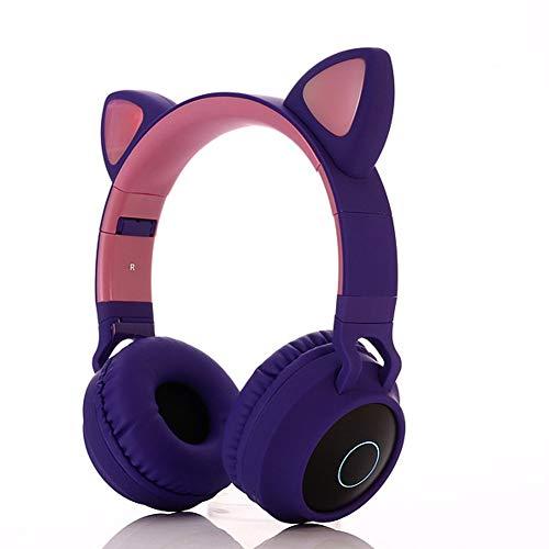 HDJX Drahtlose Katzenohr-Leuchtkopfhörer, Bluetooth-LED-Kopfhörer mit Kopfhörer, drahtlose Subwoofer-Ohrhörer, Musikkopfhörer, geeignet für Spiele, PC, Smartphone-d