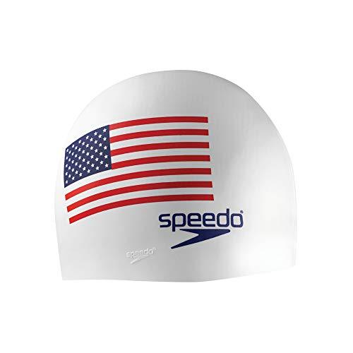 Speedo Unisex-Adult Swim Cap Silicone White Flag, One Size