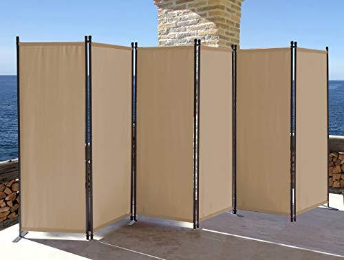 QUICK STAR Paravent 6 Teilig 340x165cm Stoff Raumteiler Trennwand Balkon Sichtschutz Stellwand Faltbar Sand