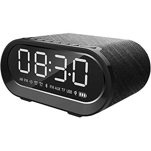 HCCTOZZ Radio Despertador Bluetooth Despertador Digital con Bluetooth 5.0, Altavoz, Radio FM, 2 Alarmas y Función de Carga USB, Adecuado para Teléfonos y Tabletas iOS/Android