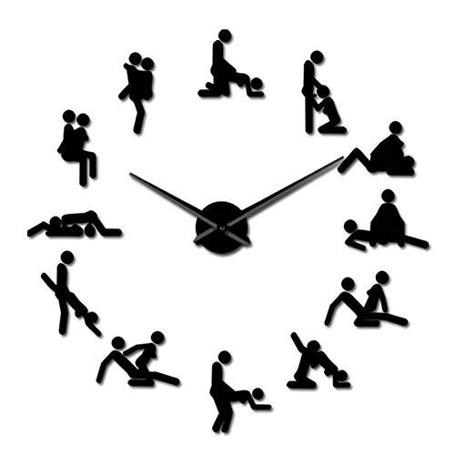 qwqqaq Grande Bricolaje Reloj De Pared Decoración De La Pared, Postura De Amor Sexual Adhesivo De Pared Frameless Acrílico Decoración del Hogar Acrílico Silencioso Reloj De Pared-Negro 51pulgada