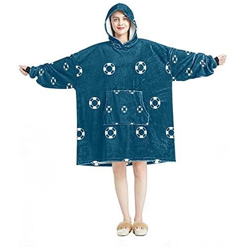 Sudadera con capucha, casual de microfibra suave, camisón cálido para hombres y mujeres con diseños de anillo de natación de playa