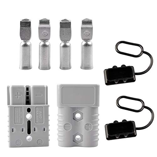 RVGUARD Universal 2-4 Gauge 175A Battery Quick Connector Kit, Battery Connect/Disconnect Plug for Winch Trailer Grey with Waterproof Cap