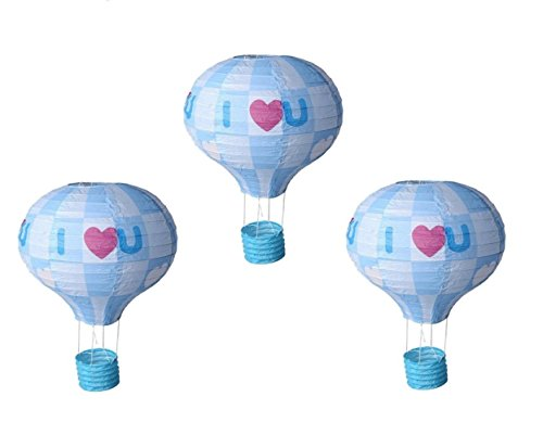 Matissa Pack van 3 Hot Air Balloon Ik hou van je Papier Lantaarn Bruiloft Party Decoratie Craft Lamp Shade