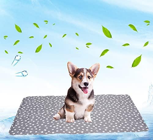 Brabtod Cama de refrigeración para perros, tamaño grande, no tóxica, cojín de refrigeración de gel de hielo para perros y gatos, cama de verano fresca de paw/gris
