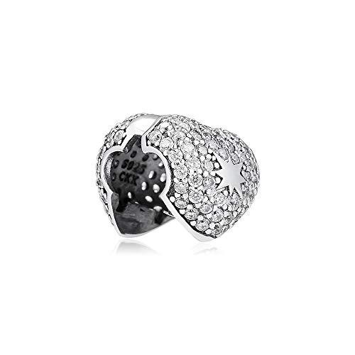 LIIHVYI Pandora Charms para Mujeres Cuentas Plata De Ley 925 Joyas con Clip De Estrella En Mi Corazón Compatible con Pulseras Europeos Collars