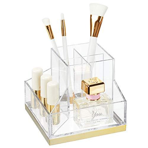 mDesign Stehsammler für Schminke – Make-up Organizer mit 6 Fächern für Lippenstift, Mascara etc. – Schminkaufbewahrung aus Kunstoff für Wasch- und Schminktisch – durchsichtig und messingfarben