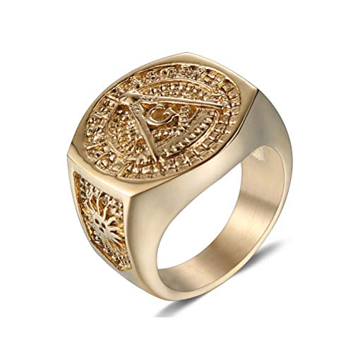 Men's Vintage Fashion Stainless Steel Gold Color Ring, AG Masonic Freemason Pattern Free And Accepted Masons Symbol Signet Band Jewelry, Hip Hop Rock Party Prom Personality Punk Ring,Gold,12