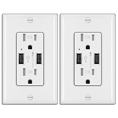[2 Pack] BESTTEN 3.6A/18W USB Receptacle Outlet, 15 Amp Tamper Resistant Wall Outlet, for Commercial and Residential Use, UL Listed, White