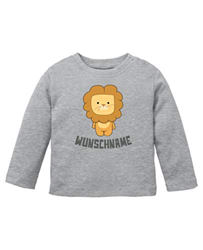 Comedy Shirts - Clipart Löwe - Wunschname - Baby Langarm Shirt - Graumeliert/Grau Gr. 92/98