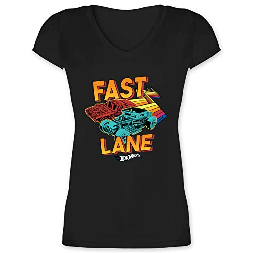 Hot Wheels Damen - Fast Lane - 3XL - Schwarz - was LAN was Shirt - XO1525 - Damen T-Shirt mit V-Ausschnitt