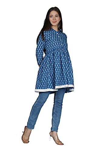 MEERA FAB Short Printed Kurti for Women Blue